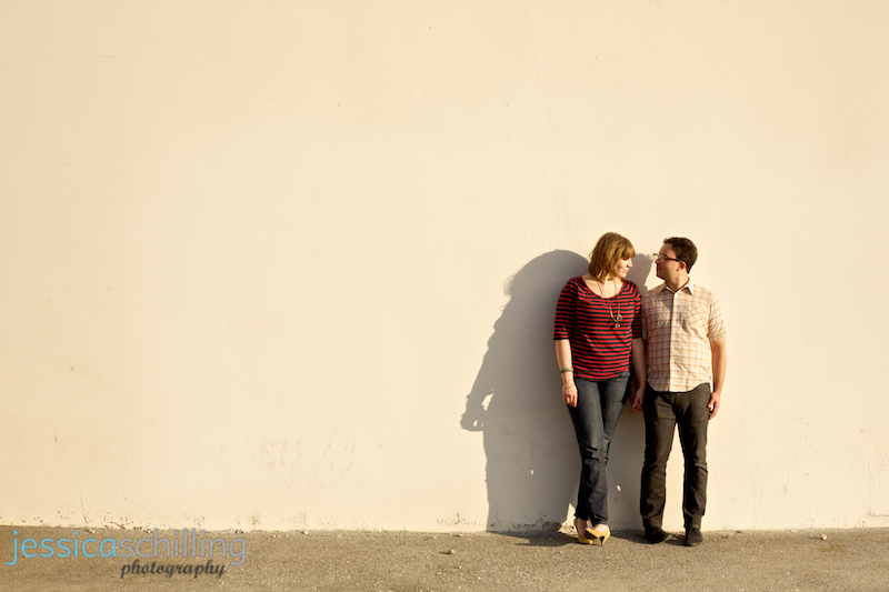 Modern indie engagement photographer Jessica Schilling with cute hipster couple