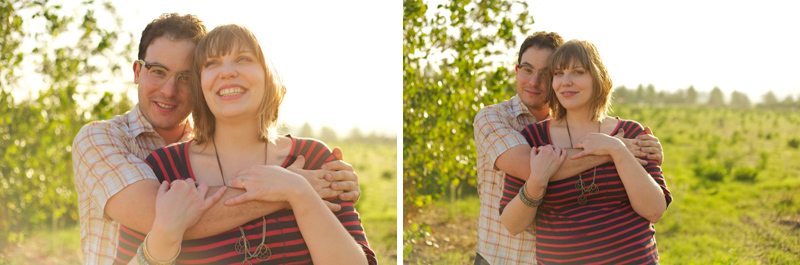 Quirky, sweet couple in Los Angeles field with sunlight for modern, fun engagement photos