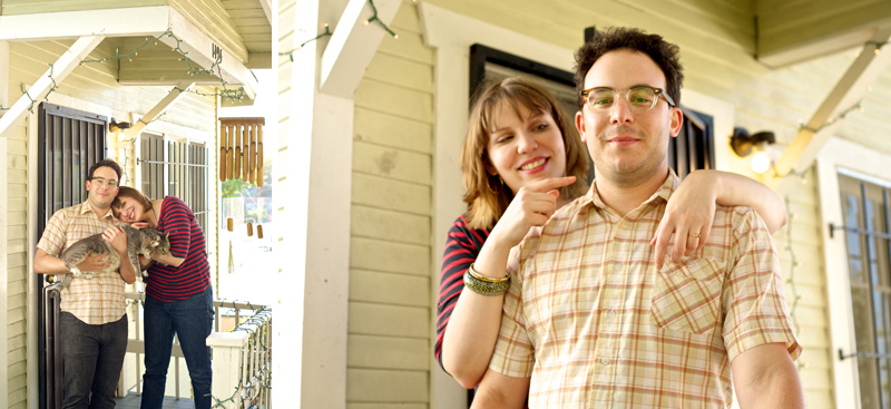 Quirky indie hipster engagement photography at adorable Echo Park Los Angeles bungalow