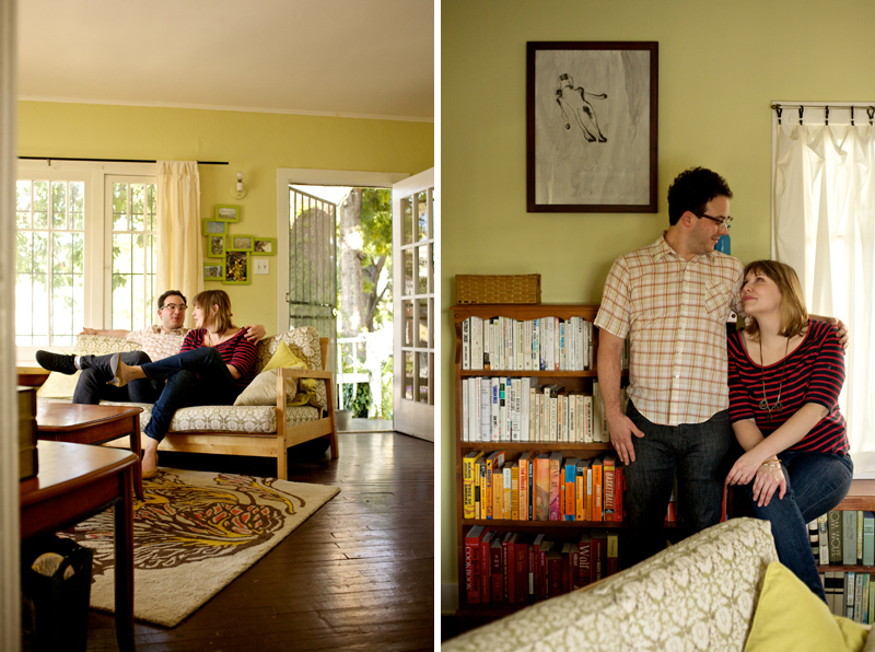 Indie Los Angeles couple engagement photos in their living room at house with color coded bookshelf