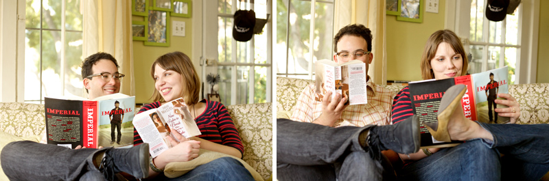 Quirky cool indie couple reading books in living room for unique engagement photos