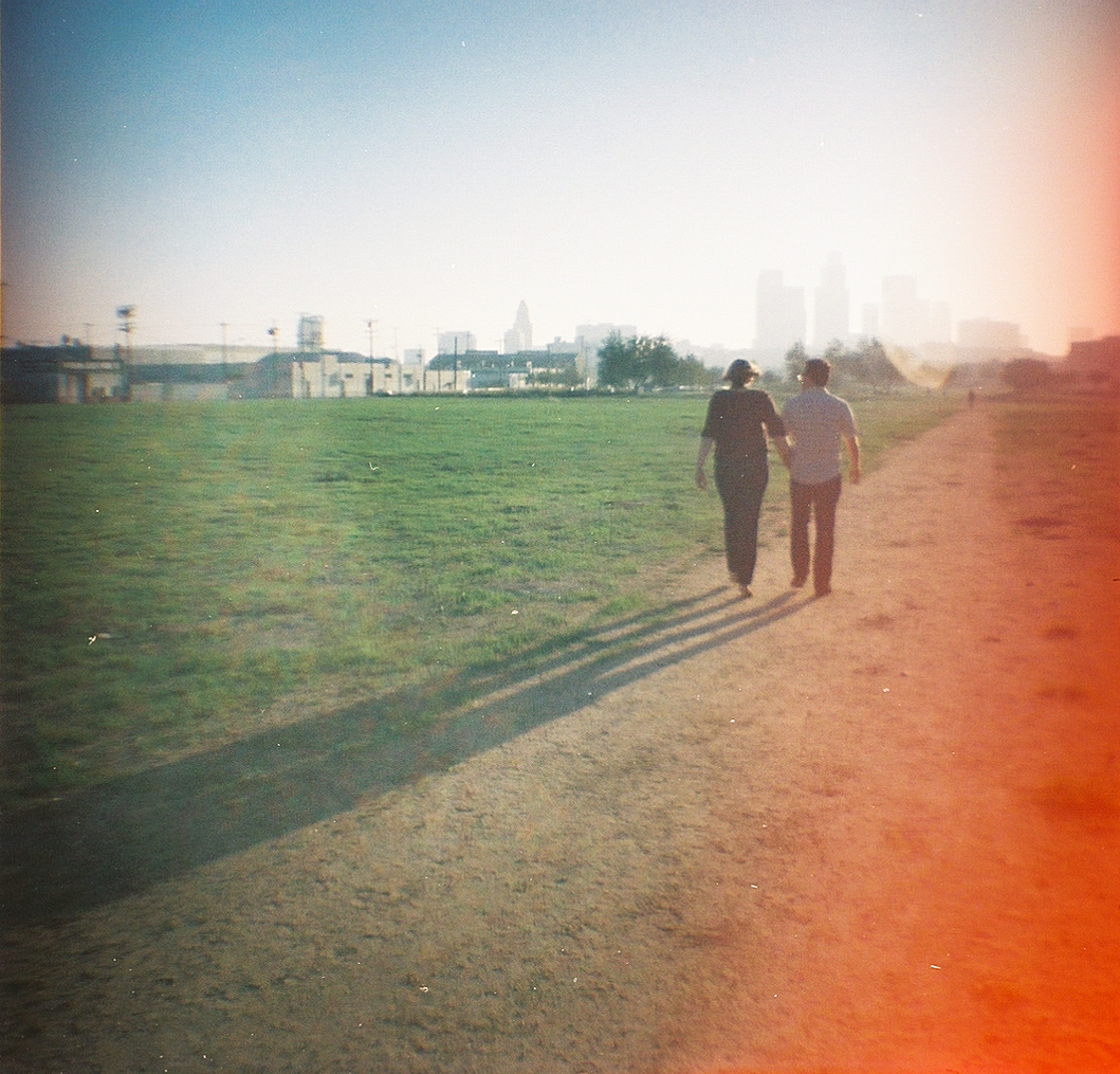 Retro vintage film photography with lomography toy camera for engagement and wedding