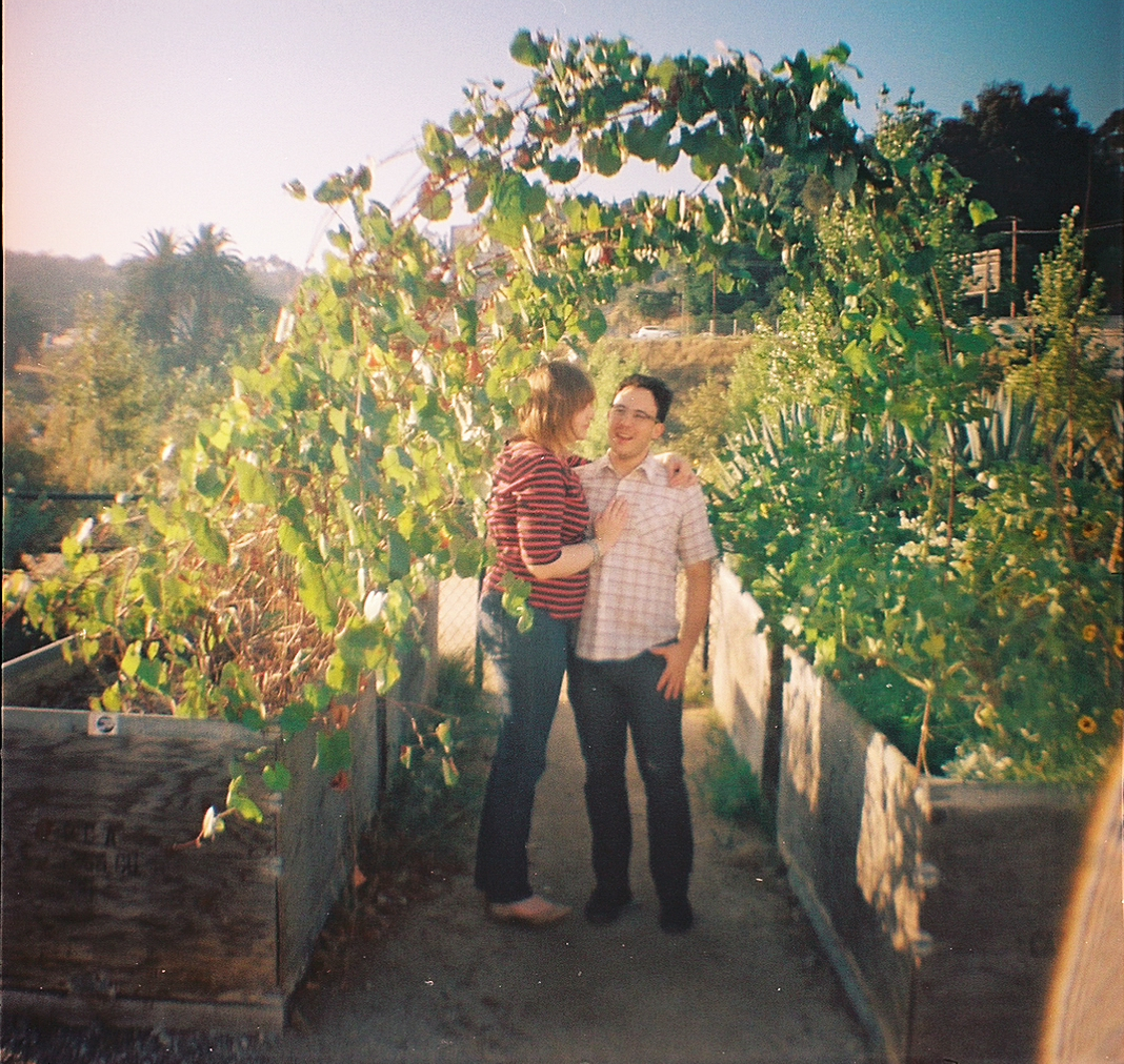 Holga toy camera photos of quirky fun indie couple in LA park
