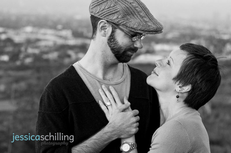 Artistic modern black and white shot of indie couple overlooking Los Angeles
