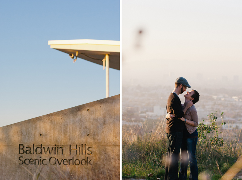 Los Angeles modern, natural engagement photography at Baldwin Hills Scenic Overlook