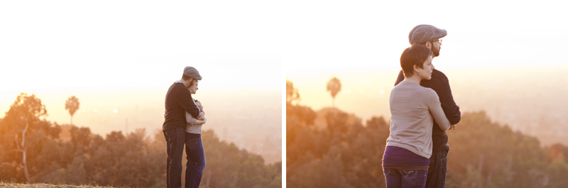 Dreamy, romantic engagement photography with indie couple overlooking Los Angeles at sunset