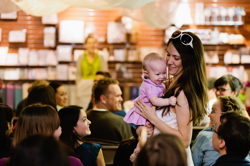 Babies in audience at Los Angeles book signing event for A Practical Wedding