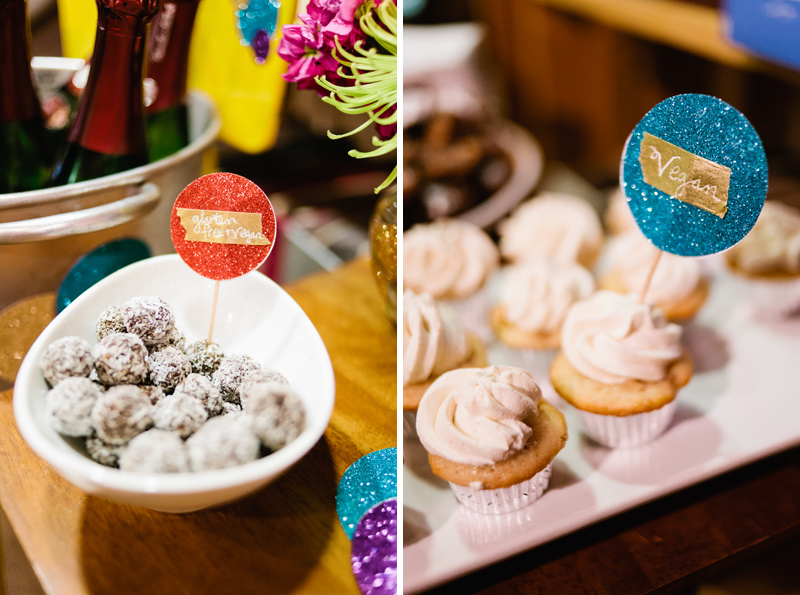 Vegan cupcakes and gluten-free chocolate truffles at dessert bar for A Practical Wedding book tour