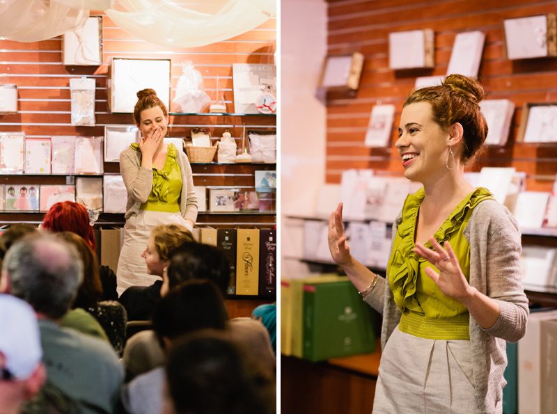 Natural candid event photography of Meg Keene of A Practical Wedding speaking in Pasadena