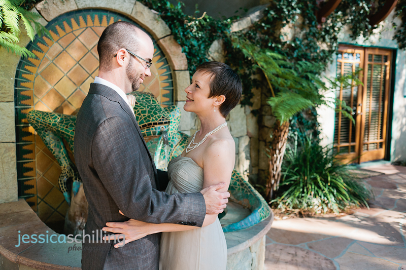 intimate outdoor first look with bride and groom before ceremony at Emerald Iguana Inn Ojai