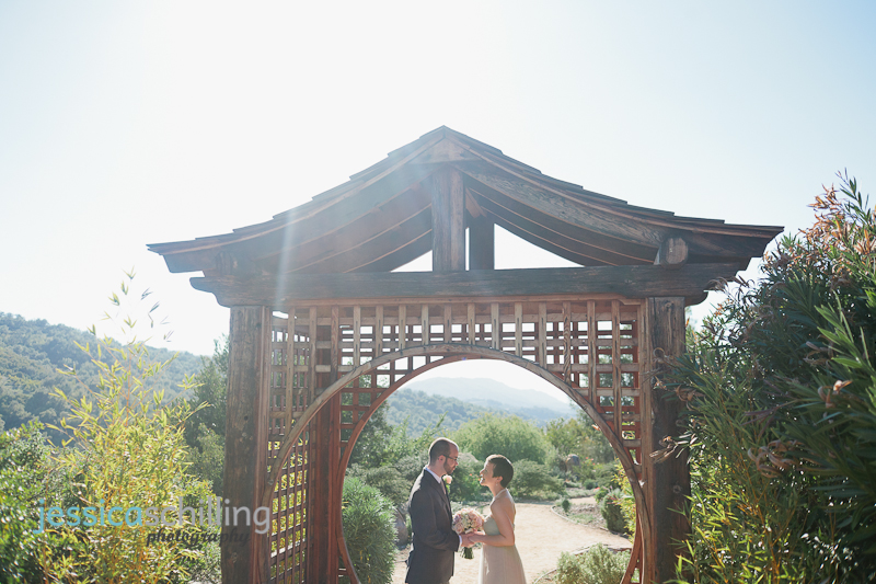 Meditation Mount zen garden portraits with bride and groom under pagoda structure