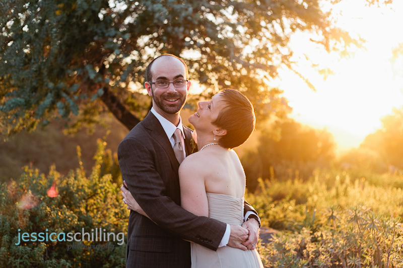 gorgeous southern california sunset lighting for fun, natural bride and groom portraits at Ojai wedding