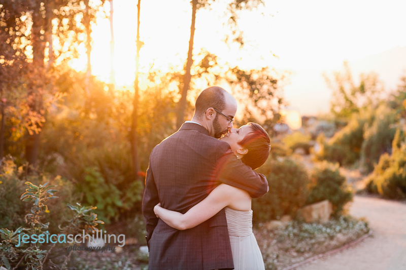 dreamy romantic warm sunlight and lens flare as couple kiss during bride and groom portraits