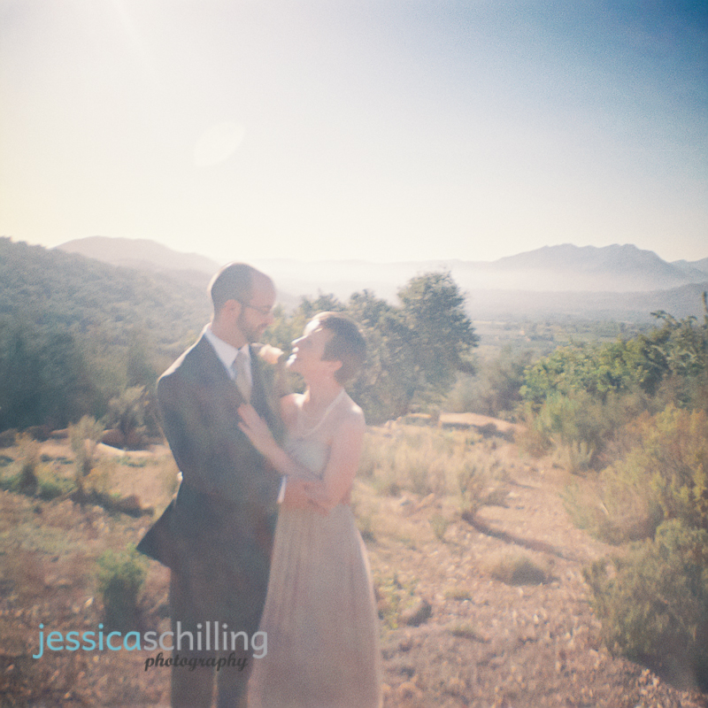 Ojai valley indie wedding photography with 35mm film and retro diana mini toy camera