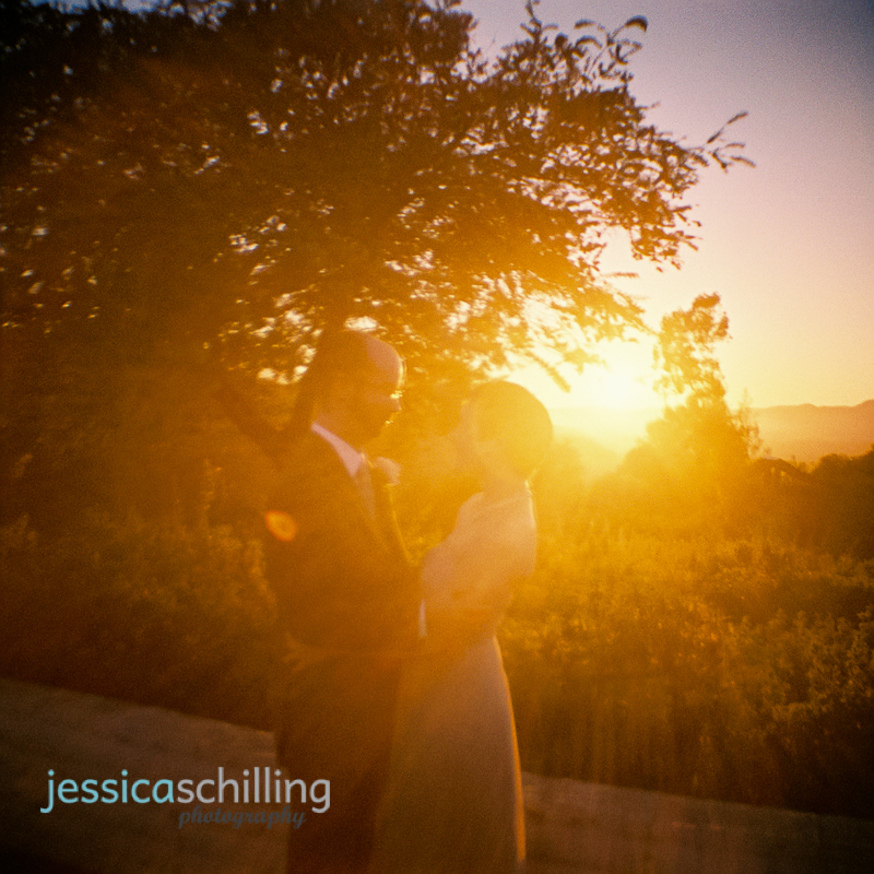quirky fun retro toy camera 35mm film photography shot bride and groom at sunset after Ojai wedding