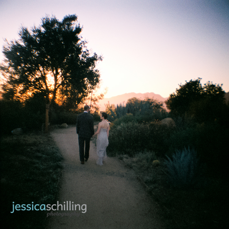 quirky cool indie wedding photography with 35mm diana toy camera of couple at sunset in Ojai