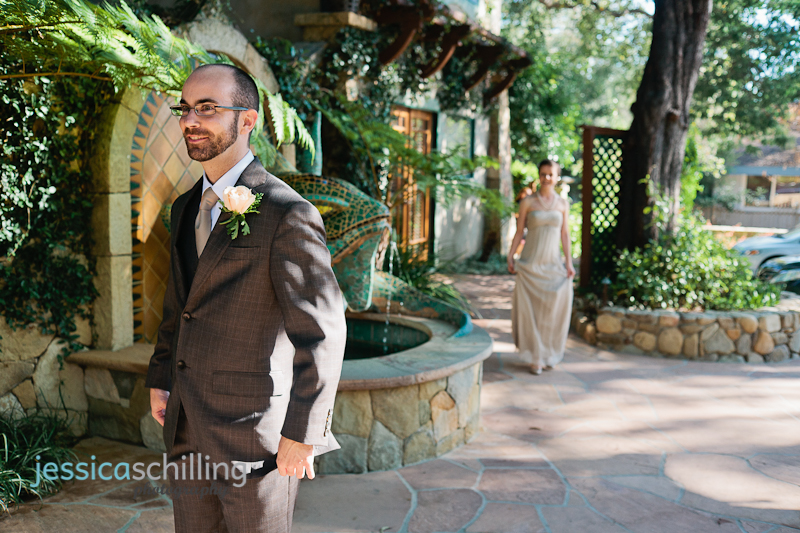Intimate first look with bride and groom before ceremony at Emerald Iguana Inn Ojai