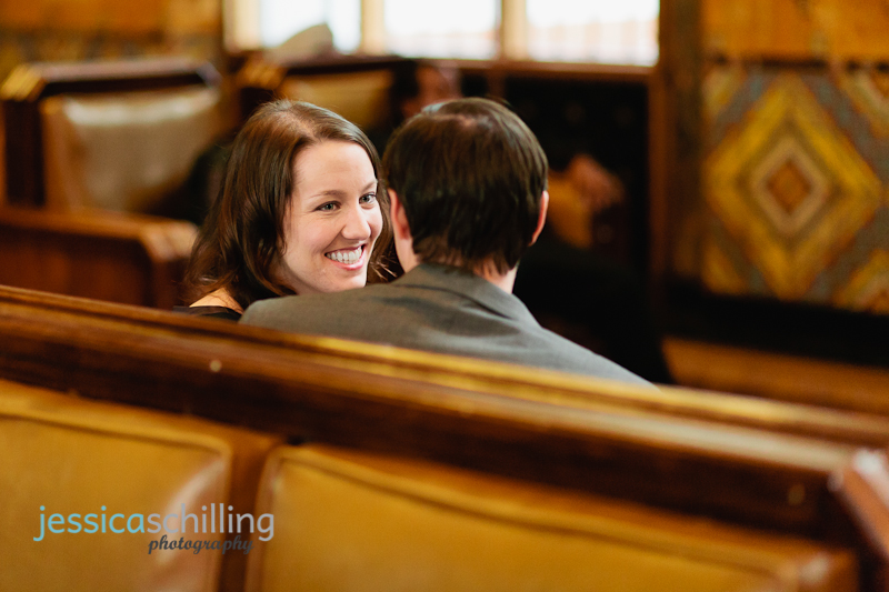 natural candid smiles during romantic vintage-inspired engagement session at Union Station