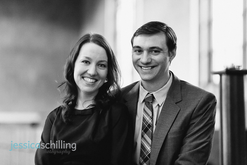 natural modern black and white engagement portraits of cute couple in Los Angeles