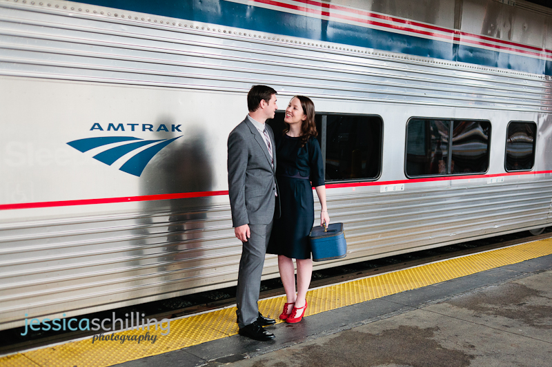 Fun quirky retro engagement photography with Amtrak train and travel theme at Union Station