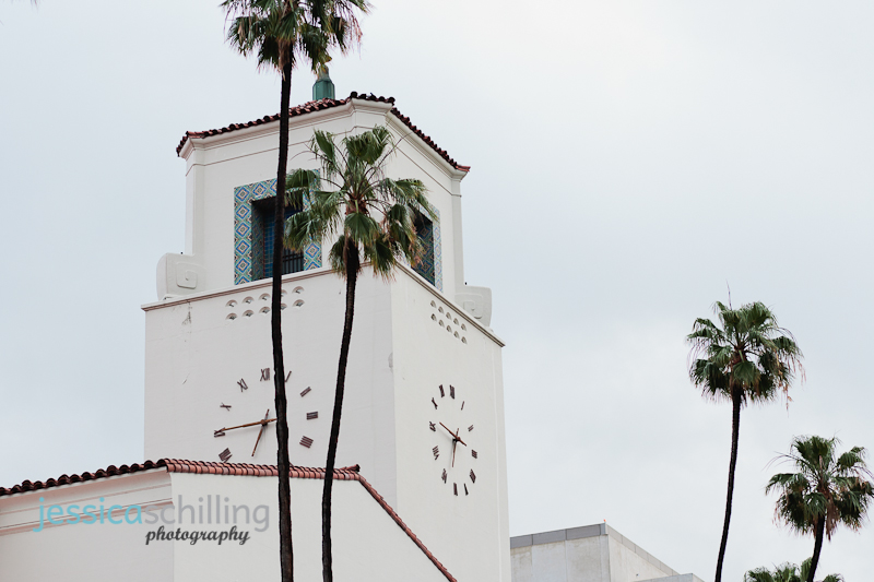 clock tower of Los Angeles' Union Station in downtown on an overcast day