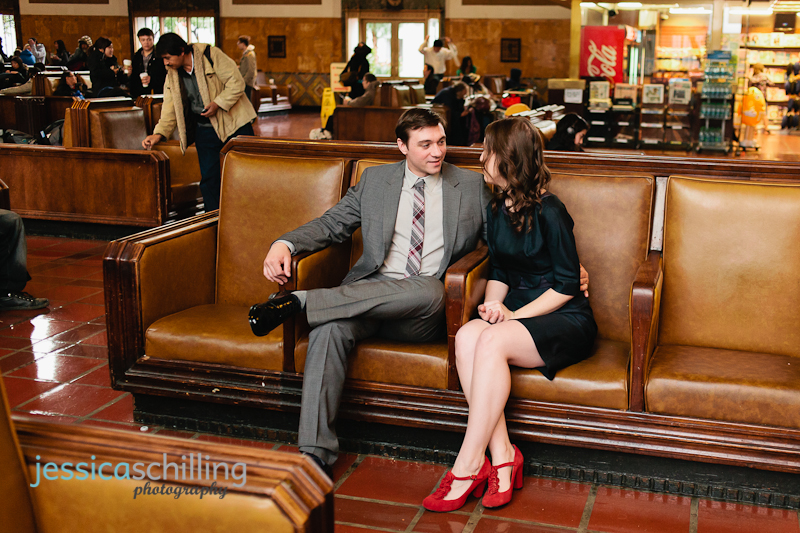 Vintage retro styled engagement shoot with cute indie couple at Union Station