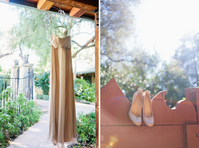 Ojai California wedding photographer details of dress and nude pump heels for bridal attire