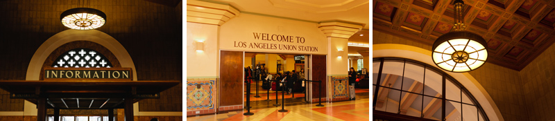 Welcome to Los Angeles Union Station signs and art deco ceilings and light fixtures