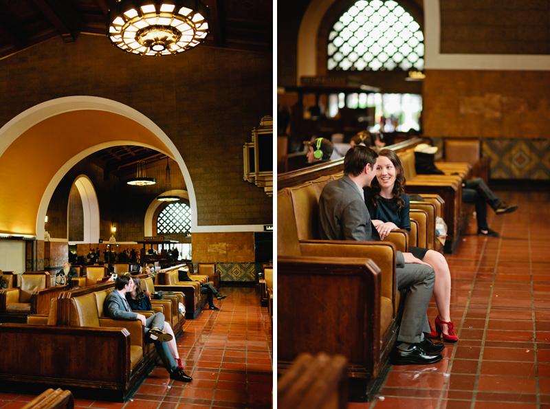 Indie wedding photographer Jessica Schilling photographs Union Station retro engagement session