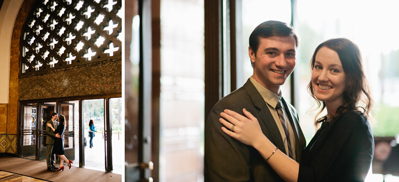 Quirky fun shots of couple posing under beautiful art deco tiled window at train station in LA
