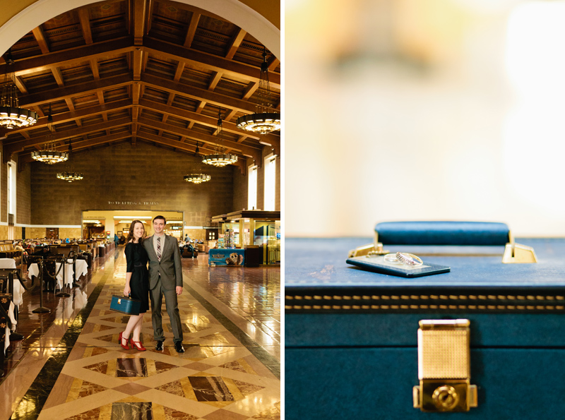 Engagement rings on vintage accessory train case by indie wedding photographer Jessica Schilling