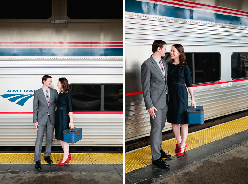 Travel and vintage inspired engagement photography train station in Los Angeles