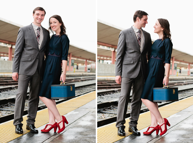 Indie wedding photographer Jessica Schilling photographs Union Station retro engagement session