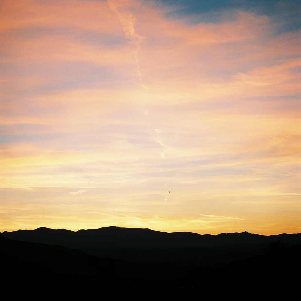 beautiful Southern California sunset over mountains with bird flying, taken on hasselblad medium format camera