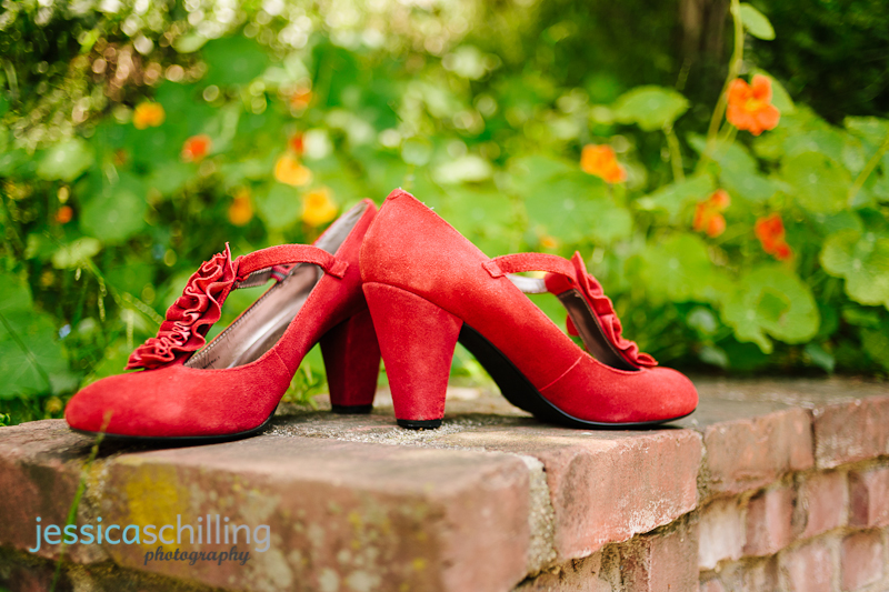 red steve madden suede ruffle shoes for vintage inspired wedding