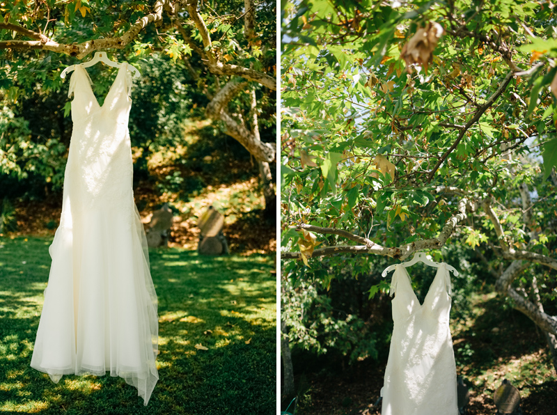 Pasadena wedding photographer, vintage inspired wedding dress in tree