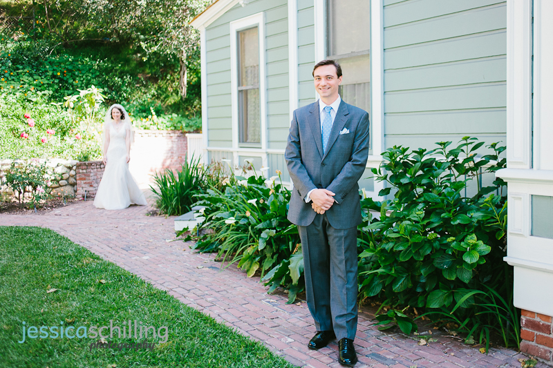 bride and groom first look at Heritage Square downtown LA