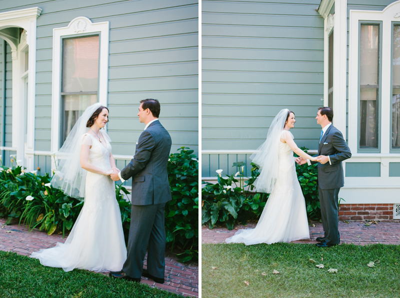 LA Los Angeles indie offbeat alternative wedding photographer. Couple first look before ceremony