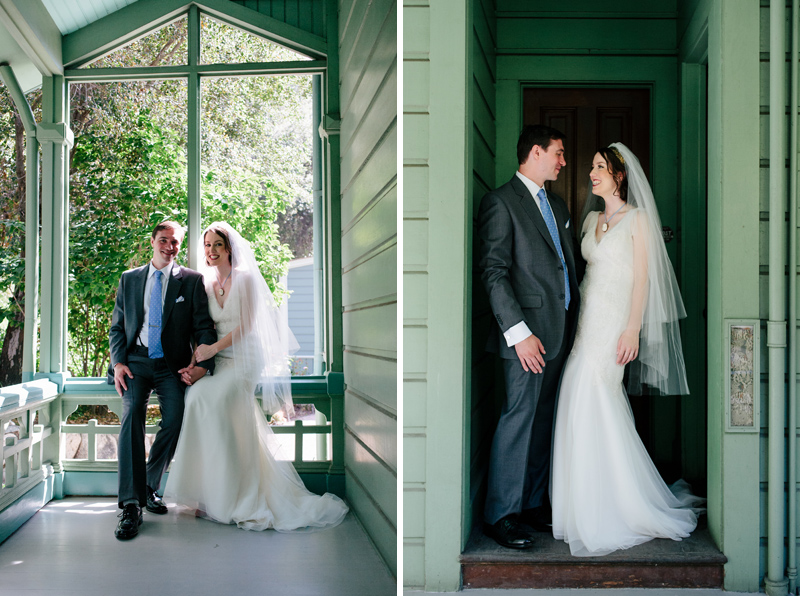 Fun quirky vintage green house for bride and groom portraits