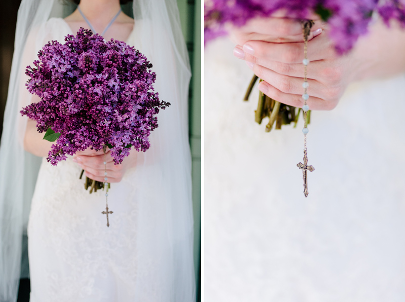 beautiful deep purple lilac bouquet for vintage wedding