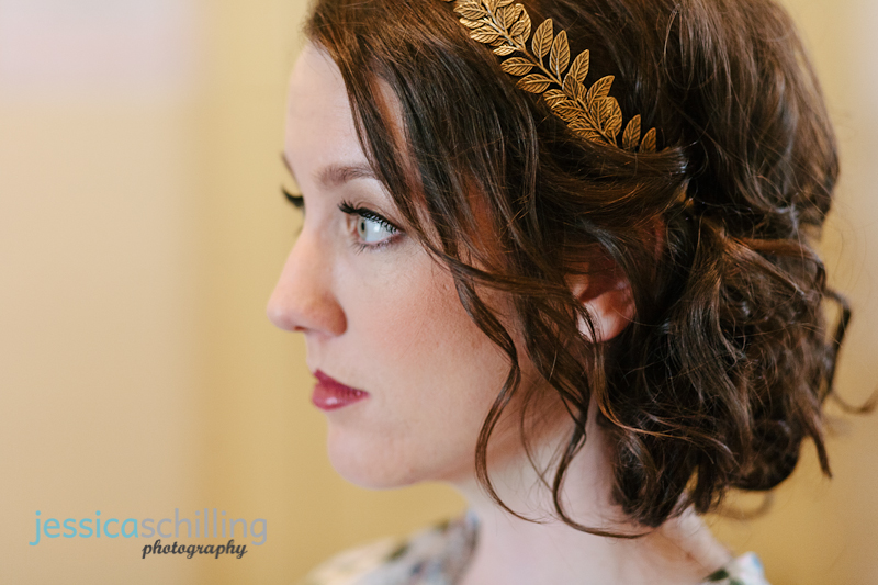 vintage gold leaf headband to go with bridal veil