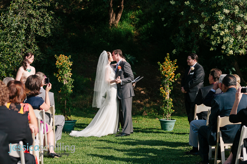 bride and groom kiss vintage wedding ceremony Los Angeles