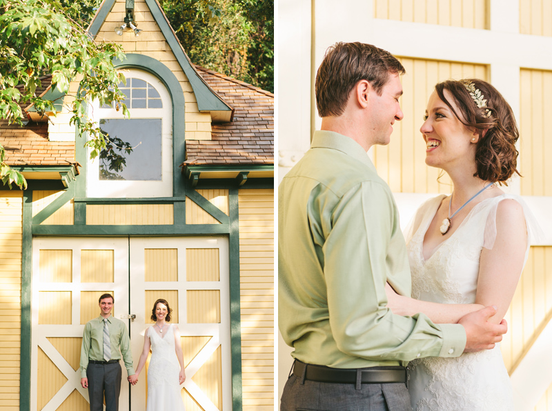 quirky sweet fun couple portraits at Heritage Square wedding