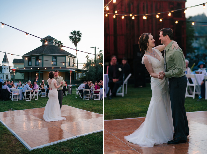bride and groom first dance night outdoor wedding reception