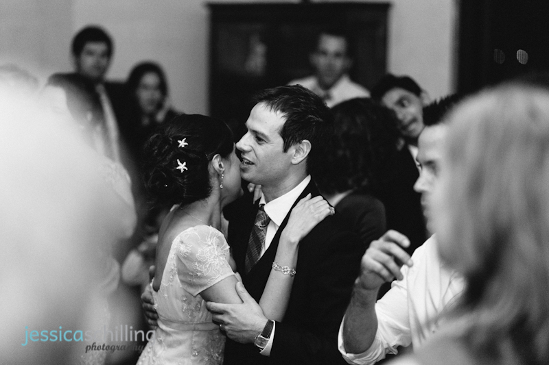 modern artistic black and white wedding photojournalism bride groom dance
