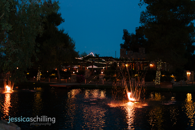Temecula wedding venue Lake Oak Meadows at night