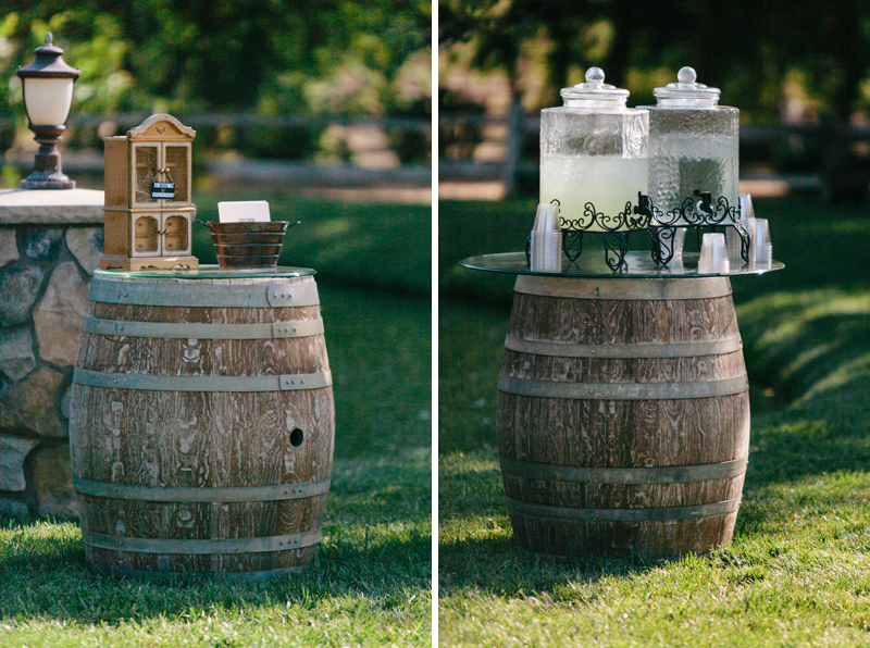 Wine barrel decor at outdoor wedding ceremony in Temecula wine country