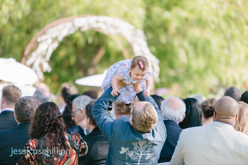 Indie wedding photographer Jessica Schilling baby guest at wedding ceremony