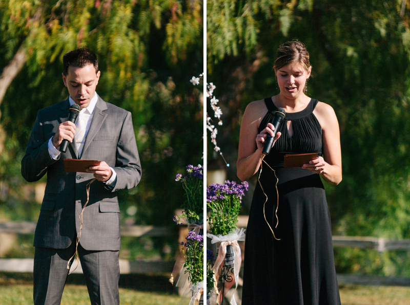 couple siblings personalized readings during ceremony at Lake Oak Meadows Temecula