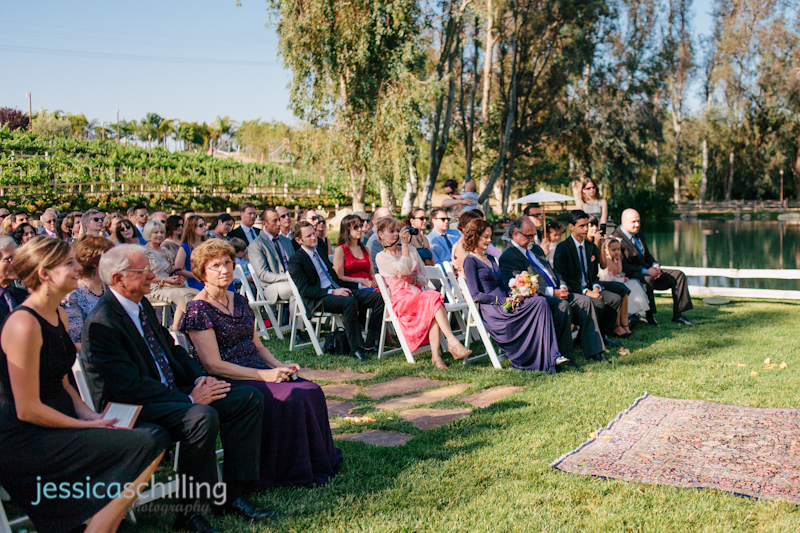 wedding guests at Lake Oak Meadows outdoor wedding ceremony wine country Temecula